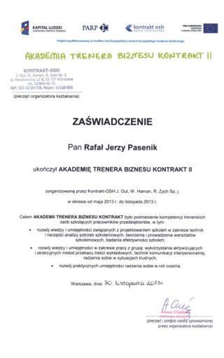 2013-12-02_Certfikat_Kontrakt_OSH_trener_R.Pasenik